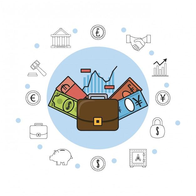 Argent Des Entreprises Et Investissements Vecteur Premium