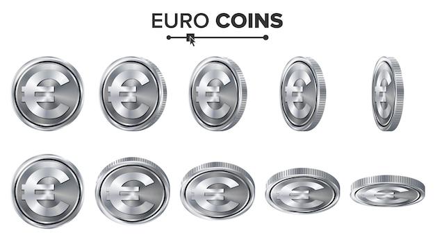 Argent. euro 3d silver coins Vecteur Premium