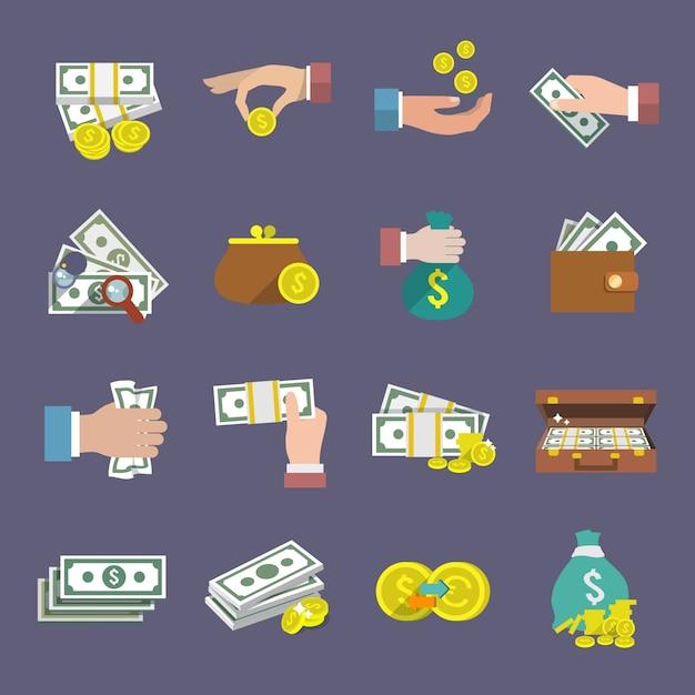 Argent monnaie et papier espèces icône plat ensemble isolé illustration vectorielle Vecteur gratuit