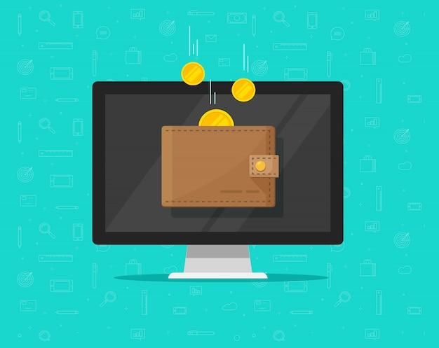 Argent de revenu en ligne en dessin animé plat portefeuille électronique Vecteur Premium