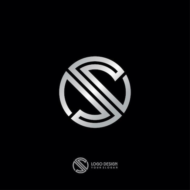 Argent s ligne art logo design Vecteur Premium
