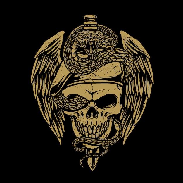 Armée De Crâne Avec Illustration De Serpent Vecteur Premium