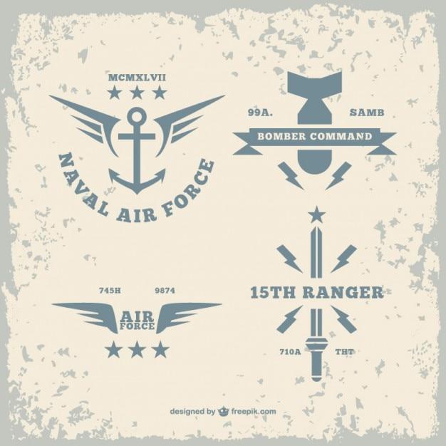 Armée logos paquet Vecteur gratuit