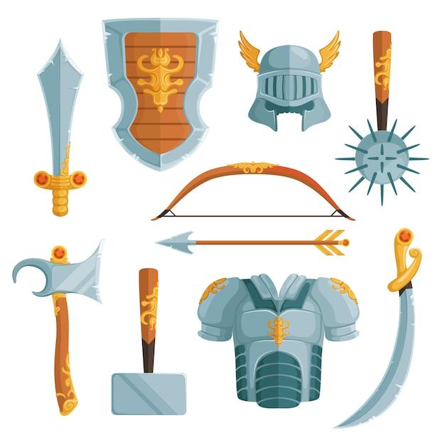 Armes fantastiques en style cartoon Vecteur Premium