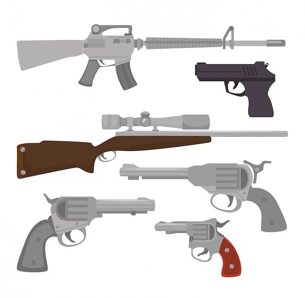 Armes à feu et des armes Vecteur Premium