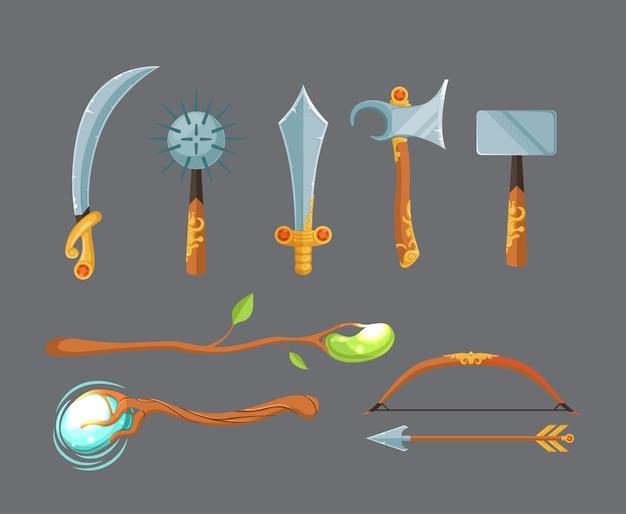 Armes médiévales Vecteur Premium