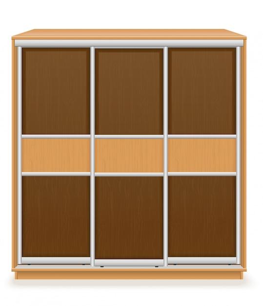 Armoire Moderne En Bois Avec Portes Coulissantes Vector Illustration Vecteur Premium