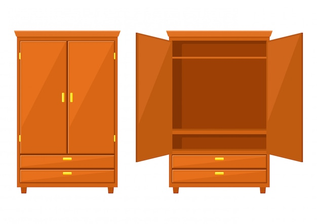 Armoire ouverte et placard isolé sur fond blanc Vecteur Premium