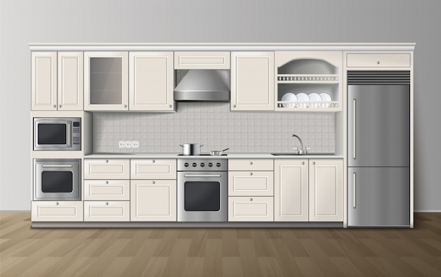 Armoires de cuisine modernes de luxe avec cuisinière intégrée et réfrigérateur, vue de côté réaliste Vecteur gratuit