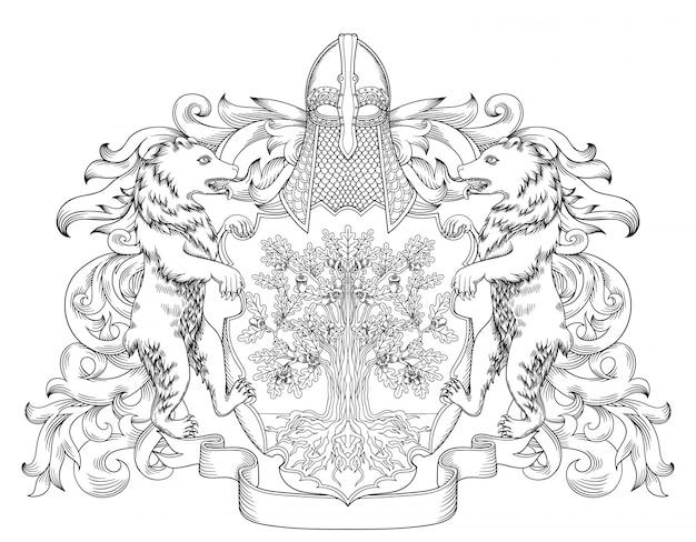 Armoiries Impériales Bouclier Emblème Royal Héraldique Avec Couronne Et Couronne De Laurier Vecteur Premium
