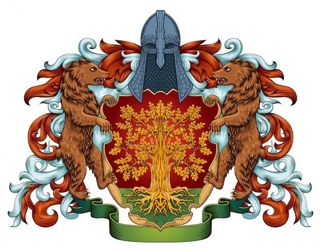 Armoiries Impériales Bouclier Emblème Royal Héraldique Avec Couronne Et Laurier Vecteur Premium
