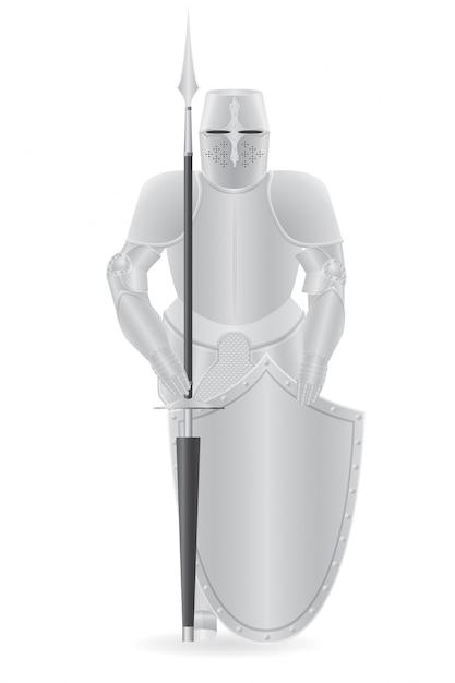 Armure de chevalier avec lance et bouclier. Vecteur Premium