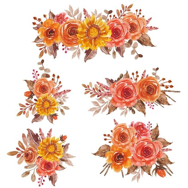 Arrangement de bouquet aquarelle floral jaune orange rouge floral pour faire-part de mariage et carte de voeux Vecteur Premium