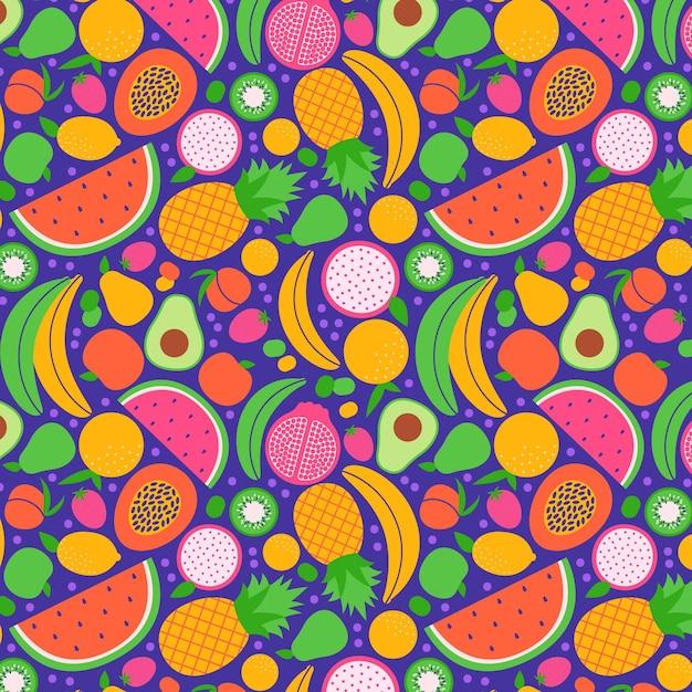 Arrangement De Collection Transparente De Fruits Exotiques Vecteur gratuit