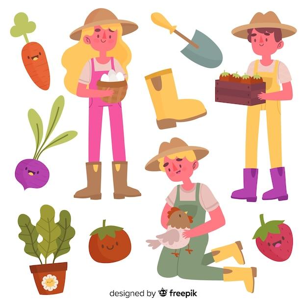 Arrangement d'éléments agricoles Vecteur gratuit