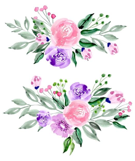 Arrangement de fleurs aquarelle rose pourpre Vecteur Premium