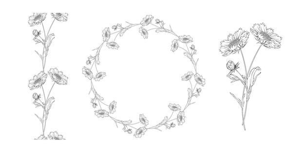 Arrangement de fleurs de contour vector noir et blanc avec des fleurs de camomille Vecteur Premium