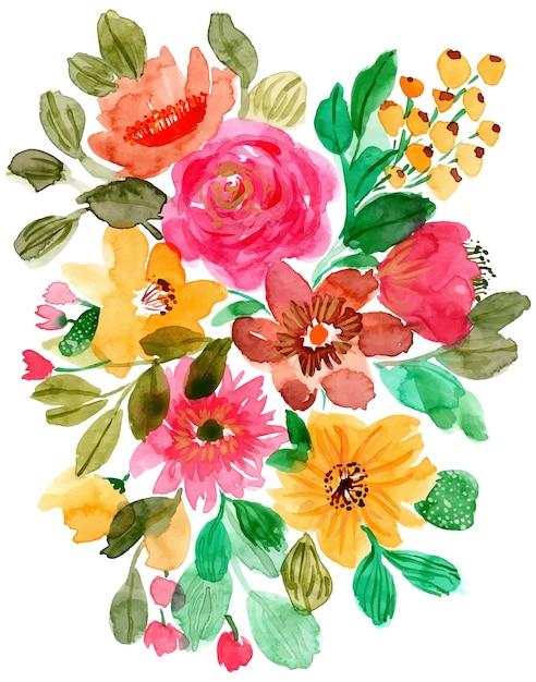 Arrangement floral aquarelle fond Vecteur Premium