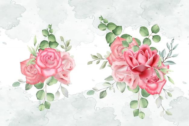 Arrangement floral aquarelle pour carte de mariage Vecteur Premium