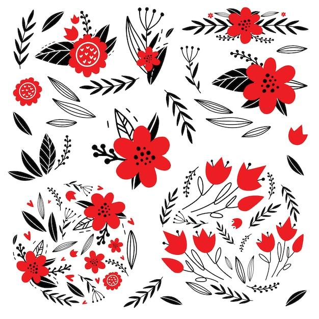 Arrangements floraux Vecteur Premium