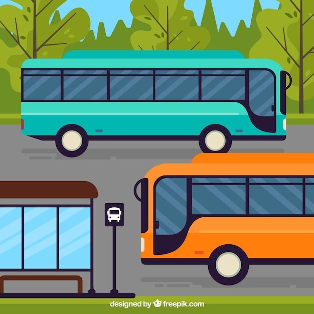 Arrêt De Bus Et De Bus Urbain Avec Un Design Plat Vecteur Premium