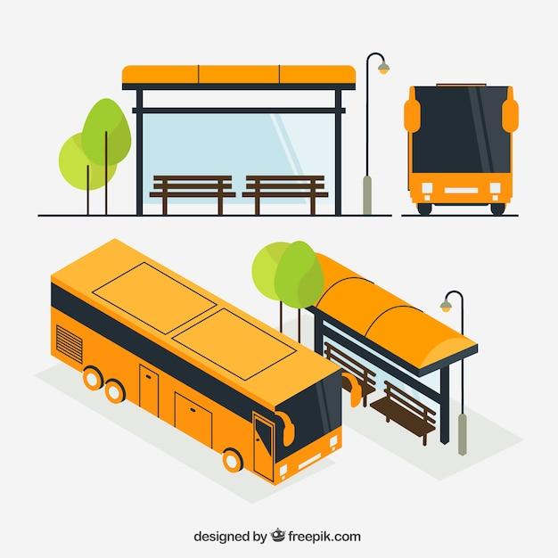 Arrêt de bus et bus urbain avec vue isométrique Vecteur gratuit