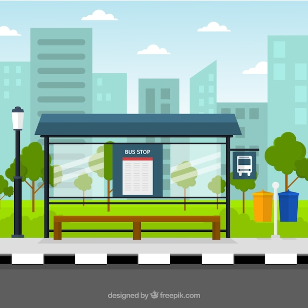 Arrêt de bus vide avec un design plat Vecteur gratuit