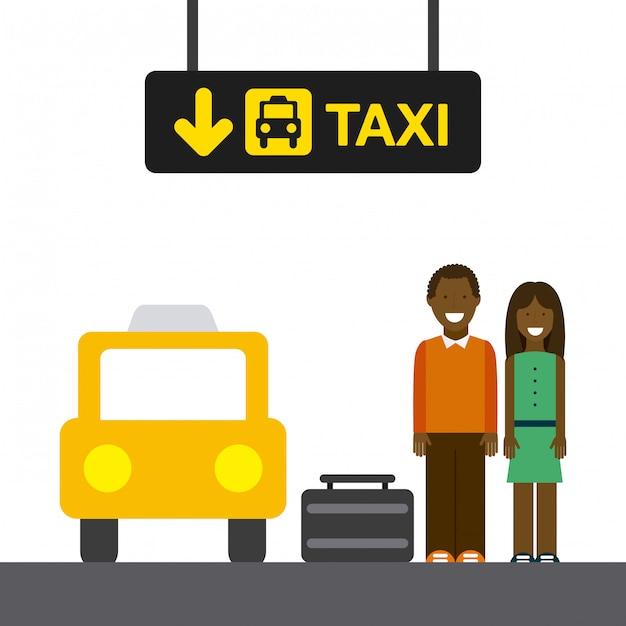 Arrêt de taxi Vecteur Premium