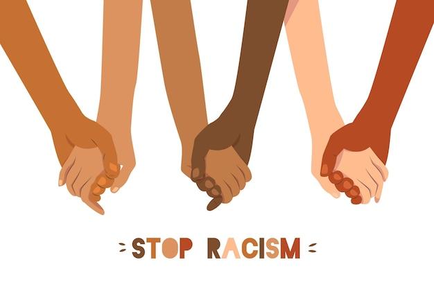 Arrêter Le Concept De Racisme Illustré De Personnes Se Tenant La Main Vecteur gratuit