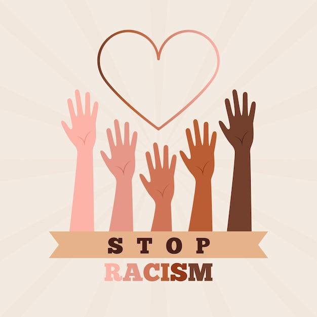 Arrêter Le Concept De Racisme Vecteur Premium