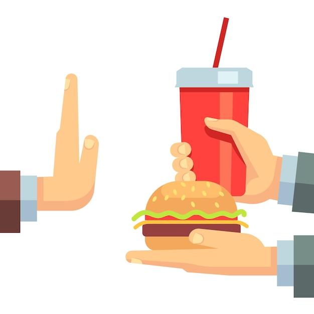Arrêter le concept de vecteur de fast food junk snack Vecteur Premium