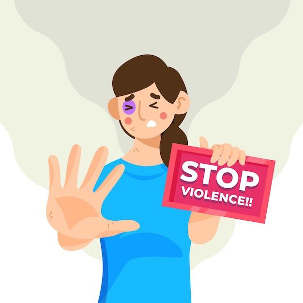 Arrêter Le Concept De Violence De Genre Vecteur gratuit