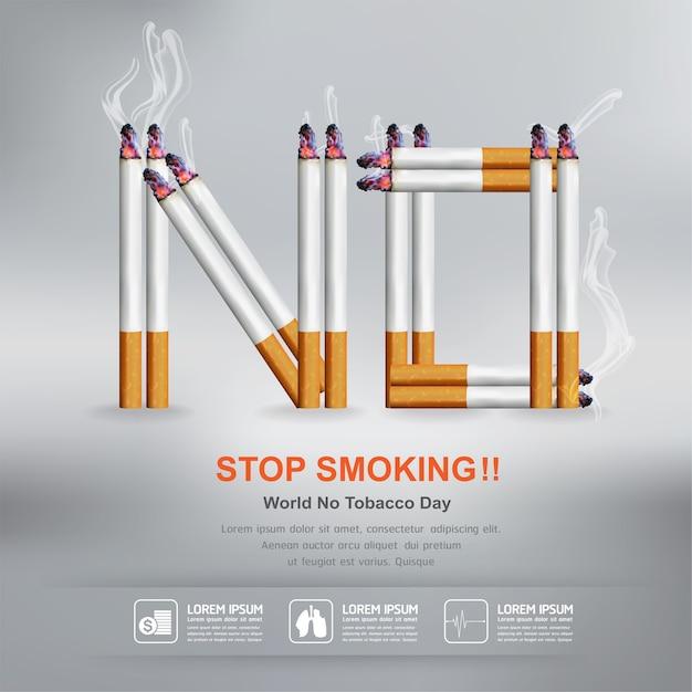 Arrêter De Fumer Concept Pour La Journée Mondiale Sans Tabac De Fond. Vecteur Premium