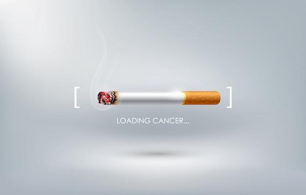 Arrêter De Fumer Concept Publicité, Cigarette Brûle Comme Barre De Chargement Du Cancer, Journée Mondiale Sans Tabac, Vecteur Premium