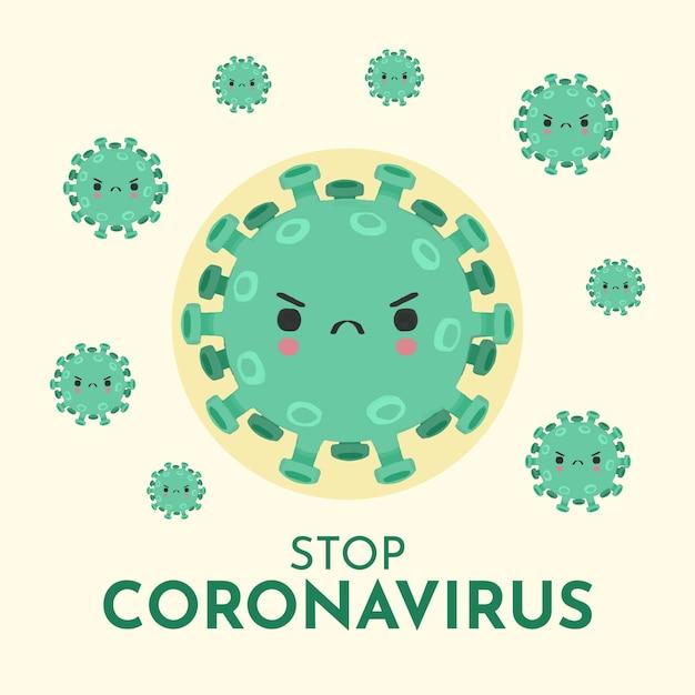 Arrêter L'illustration Du Concept De Coronavirus Vecteur Premium