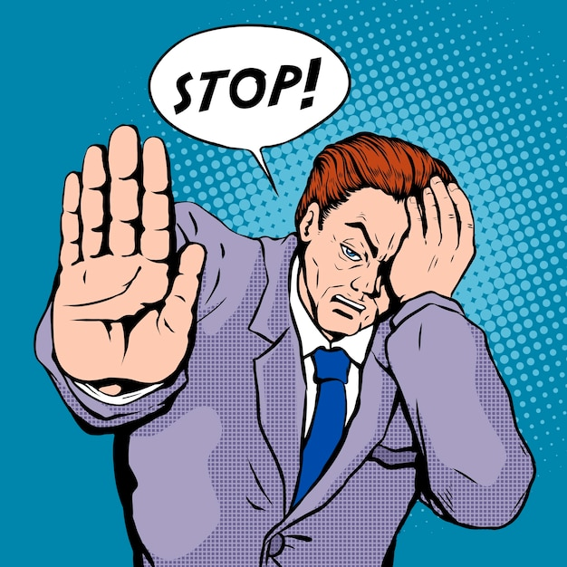 Arrêter L'illustration Pop Art Vecteur Premium