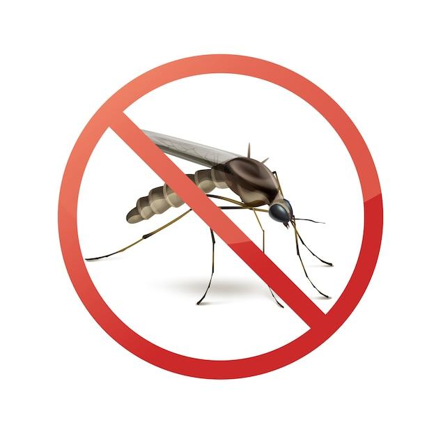 Arrêter D'interdire Le Signe Sur Les Moustiques Close Up Side View Isolé Sur Fond Blanc Vecteur gratuit