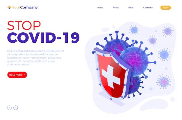 Arrêter La Page De Destination Du Coronavirus Vecteur Premium