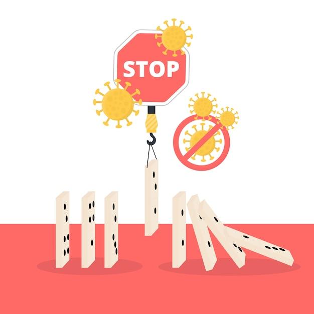 Arrêter Les Pièces De Domino Du Concept De Coronavirus Vecteur gratuit