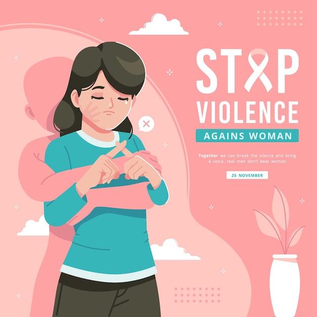 Arrêter La Violence Contre Les Femmes Illustration Vecteur Premium