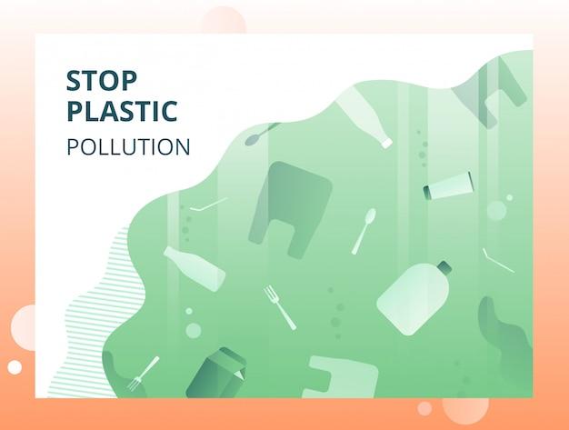Arrêtez le concept écologique de pollution en vert avec des déchets flottants sous l'eau. Vecteur Premium