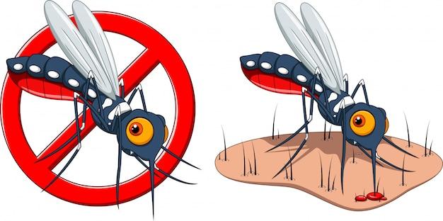 Arrêtez Le Dessin Animé De Moustique Et La Peau Mordue Par Le Moustique Vecteur Premium