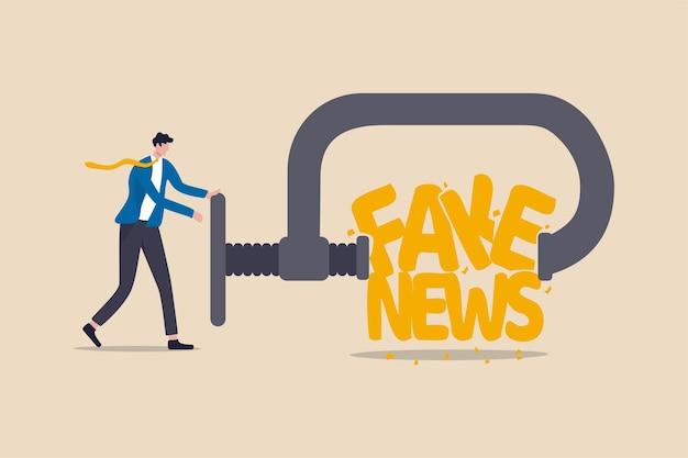 Arrêtez Les Fausses Nouvelles Et La Désinformation Sur Internet Et Le Concept Des Médias, Le Chef D'homme D'affaires Pressant Et Détruisant Le Mot Fake News. Vecteur Premium