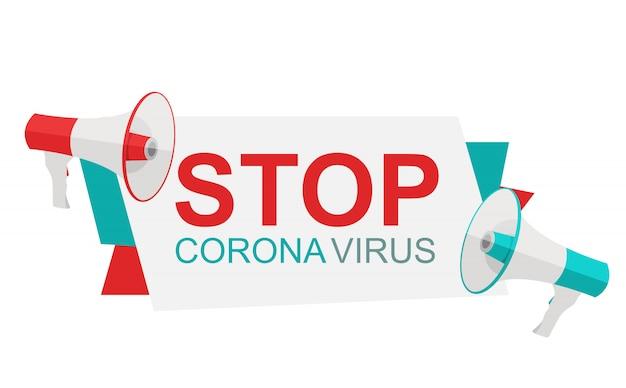 Arrêtez L'illustration Du Coronavirus Avec Des Mégaphones Vecteur Premium