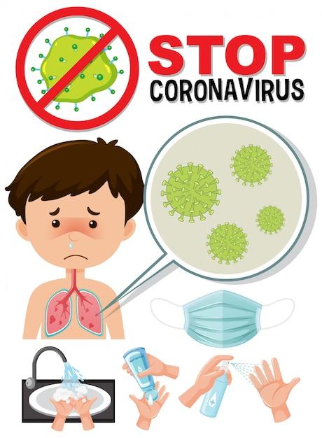 Arrêtez Le Logo Du Coronavirus Avec Un Caronavirus Infecté Par Un Garçon Vecteur Premium