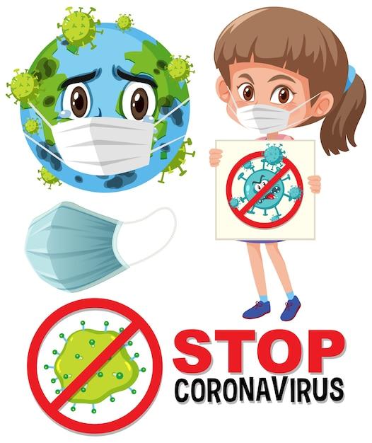 Arrêtez Le Logo Du Coronavirus Avec La Terre Portant Le Personnage De Dessin Animé De Masque Et La Fille Tenant Le Signe D'arrêt Du Coronavirus Vecteur Premium