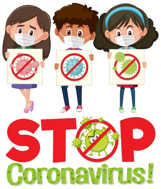 Arrêtez Le Logo Du Coronavirus Avec Trois Adolescents Tenant Un Panneau D'arrêt Du Coronavirus Vecteur Premium