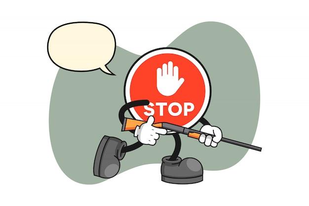 Arrêtez Le Personnage De Dessin Animé De Signe En Tant Que Chasseur Vecteur Premium
