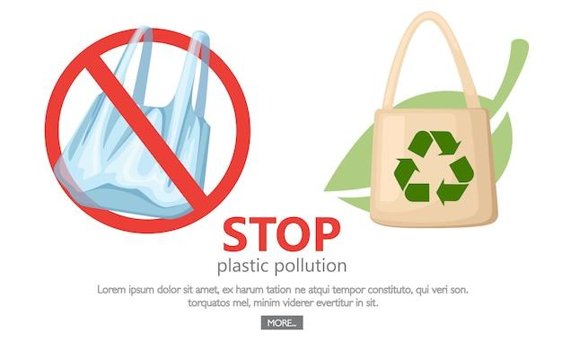 Arrêtez La Pollution Plastique. Aucun Symbole De Sacs En Plastique.  Enregistrement Du Logo De L'écologie.