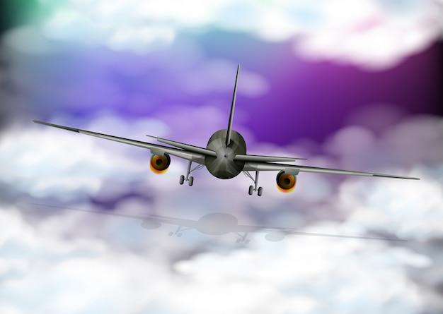 L'arrière de l'avion vole dans le ciel violet Vecteur Premium